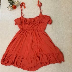 Torrid Orange Sleeveless Dress Ruffles and tassels